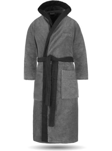 Normani Unisex Baumwoll-Bademantel mit Frottee, zweifarbig - OEKO-TEX® 100 in Grau/Schwarz