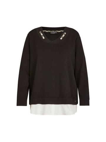 VIA APPIA DUE  Pullover Edler Sweater mit unifarbenem Stoff in schwarz / ecru