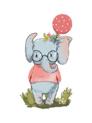 """Dekodino Wandtattoo """"Pastell Elefant mit Luftballon und Pullover"""" in Bunt"""