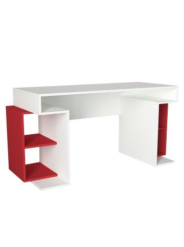 Moebel17 Schreibtisch Monument Weiß Rot