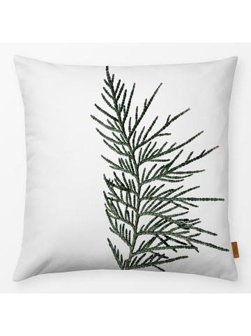 """Textilwerk Kissen """"Winter Branches 16"""" weiss/grün"""