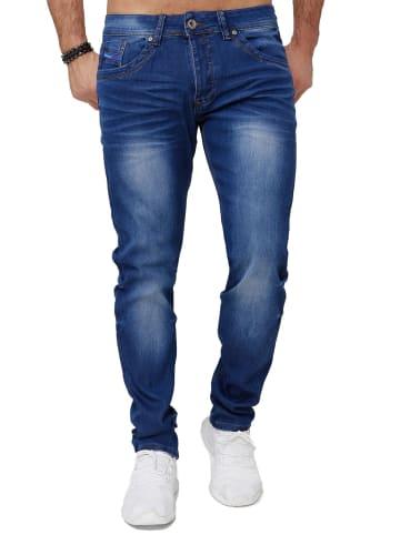 Jaylvis Denim Jeans Stretch Hose Dicke Zier Naht in Blau