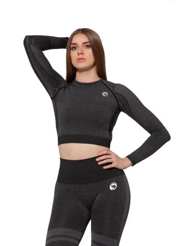 Stark Soul® Long Sleeve Crop Top in Schwarz