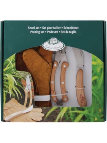 Esschert Design Edelstahl Gartenset mit Blumenschere, Gartenmesser und Handschuhen