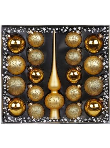 Magic 19-tlg. Glas-Weihnachtsbaumschmuck Set mit Spitze, gold verziert