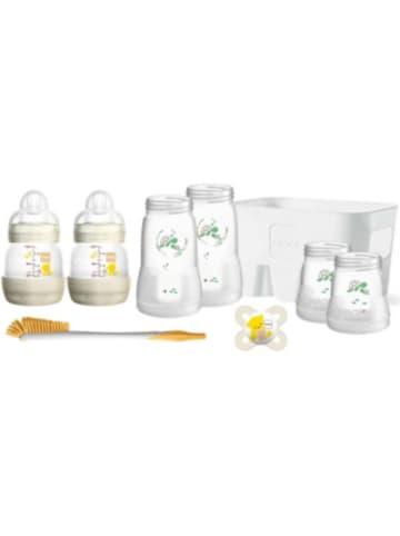 MAM Weithalsflasche Easy Start Set, PP, Silikonschnabel, beige, 8-tlg.