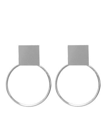 "Monom Ohrringe ""Plattitude eingekreist"" in Silber"