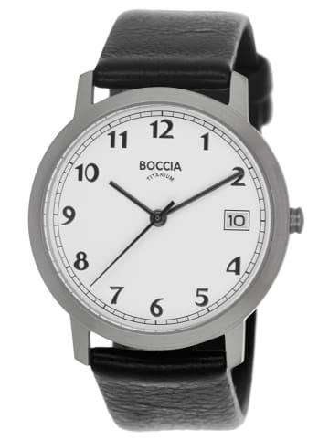 Boccia Titan-Damenuhr mit Lederband Weiß / Schwarz / Silber