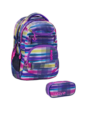 """Wave Rucksack """"Infinity Colorful Set1"""" in lila, H 43 cm B 31 cm T 22 cm"""