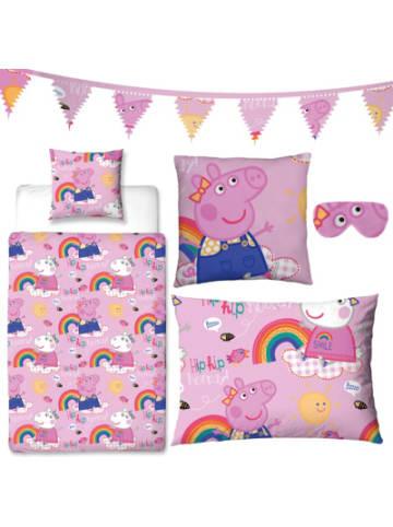 Character World Schlafwelt-Set Peppa Pig, 5-tlg, rosa - Wende-Bettwäsche, Schlafmaske,...
