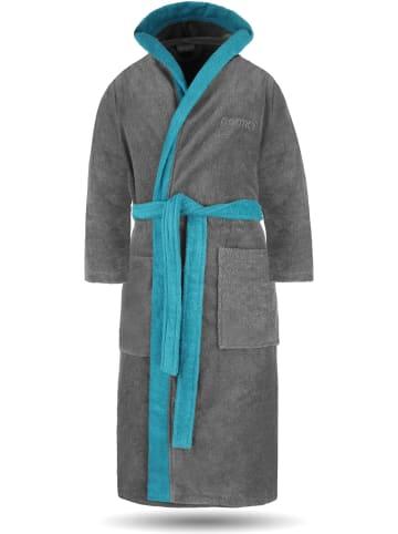 Normani Unisex Baumwoll-Bademantel mit Frottee, zweifarbig - OEKO-TEX® 100 in Grau/Blau