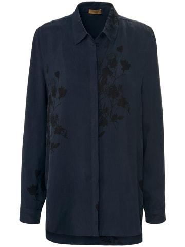 TRUE STANDARD Langarmbluse Long-Bluse in nachtblau