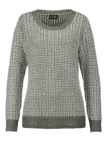 Dress In Pullover in Oliv,Off-white