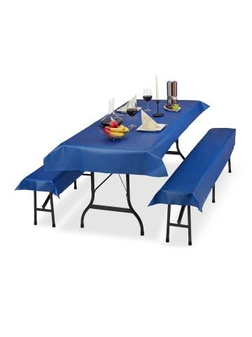 Relaxdays 3x Bierzeltgarnitur Auflage in Blau