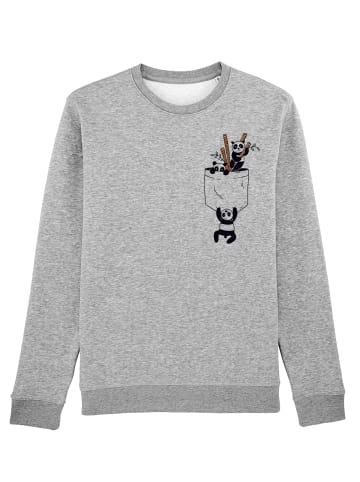 Wat? Apparel Sweatshirt Pocket Pandas in Grau meliert