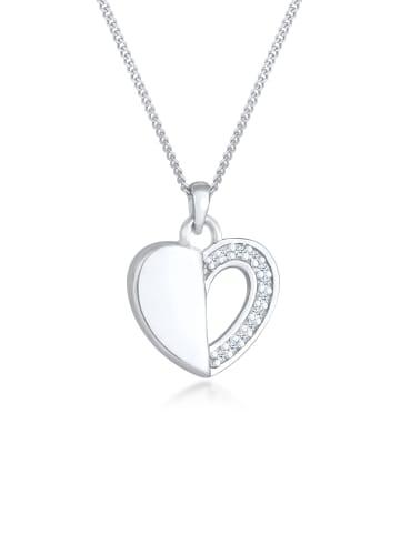 Elli DIAMONDS  Halskette 925 Sterling Silber Diamant, Herz in Silber