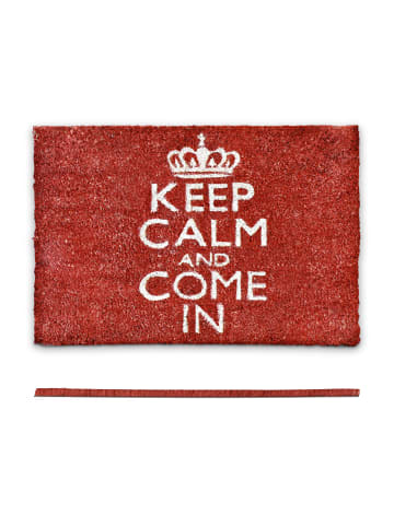 Relaxdays Fußmatte Keep calm in Rot - (B)60 x (T)40 cm
