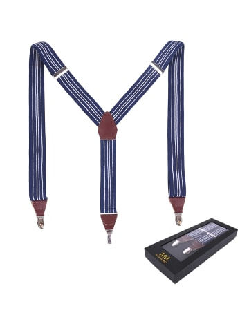 Massi Morino  Hosenträger aus Leder in blau