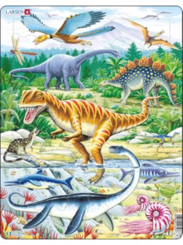Larsen Rahmen-Puzzle, 35 Teile, 36x28 cm, Dinosaurier