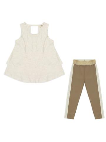 Panco Top Look - aus silbernem Stoff - für Mädchen in Ecru