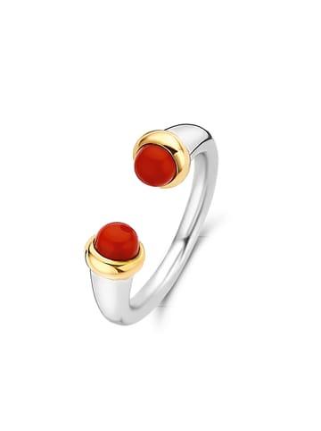 """Ti Sento Milano Ring """"korallenrote Steine"""" in silber und rot"""