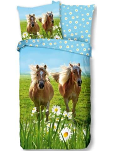 Good Morning Kinder-Wendebettwäsche Horses, Baumwolle, blau/grün, 135 x 200 + 80 x 80 cm