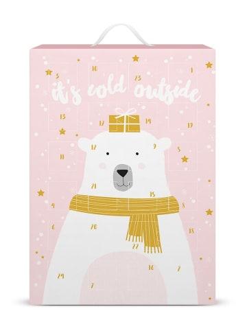 Six Adventskalender Eisbär mit silber- und goldfarbenen Schmuckstücken in silberfarben
