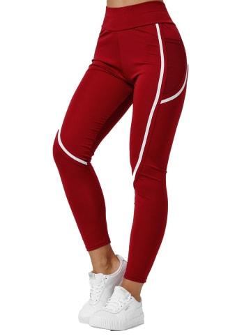 Holala Stretch Leggings mit Tasche Fitness Hose Streifen in Rot
