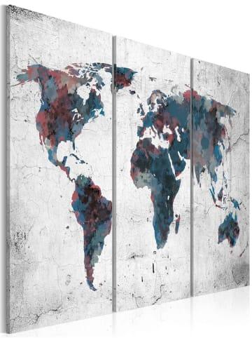 Artgeist Wandbild Unentdeckte Kontinente - Triptychon in Weiß,Dunkelblau,Grau,Violett