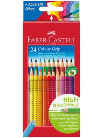 Faber-Castell Buntstifte COLOUR GRIPwasservermalbar, 24 Farben
