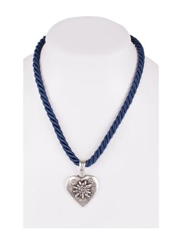 Schuhmacher Halskette K100 Kordel Herz mit Edelweiss marine