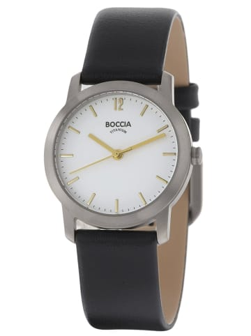 Boccia Titan-Damenarmbanduhr mit Lederarmband Weiß / Schwarz / Silber
