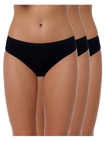 Yenita® Bambus Bikini Slip 3er Set in schwarz