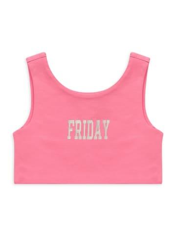 Panco Unterhemd - mit Fridaydruck - für Mädchen in Rosa