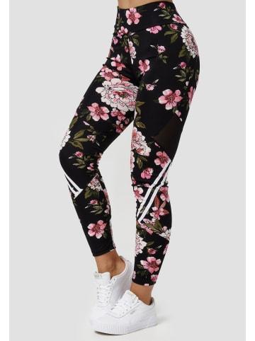Holala Stretch Leggings Fitness Hose mit Blumen Print in Rosa