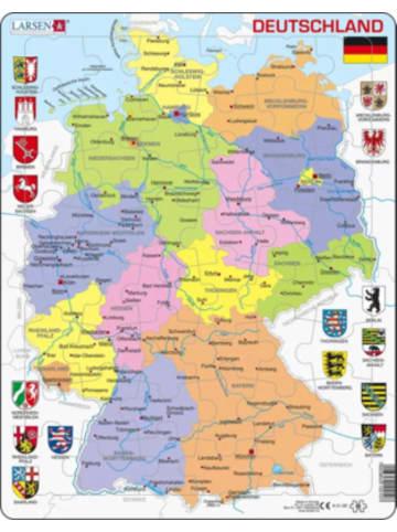 Larsen Rahmen-Puzzle, 48 Teile, 36x28 cm, Karte Deutschland (politisch)