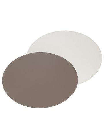 FREEFORM DUO - Platzset oval, taupe/weiß