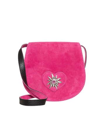 Schuhmacher Trachten Ledertasche  TA30340 Herz Edelweiss, pink