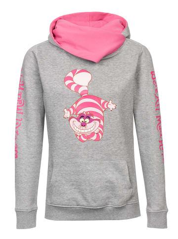 Disney Alice in Wonderland  Schalkragenpullover Cheshire Cat in grau meliert/pink