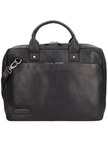 Plevier Navigator Transponder Aktentasche Leder 40 cm Laptopfach in schwarz