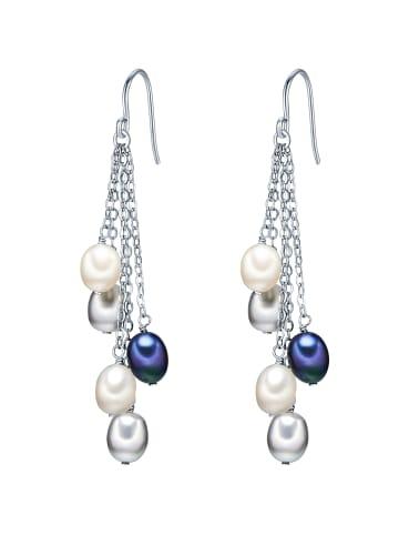 Valero Pearls Perlen-Ohrhänger Sterling Silber Süßwasser-Zuchtperle in Silber in silber