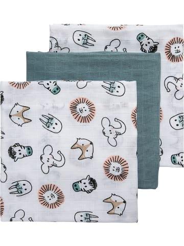 Meyco Mullwindeln - Animal/Uni, 70 x 70 cm, steingrün, 3er Pack