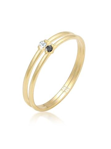 Elli DIAMONDS  Ring 375 Gelbgold Black Diamond, Ring Set, Solitär-Ring, Verlobungsring in Gold