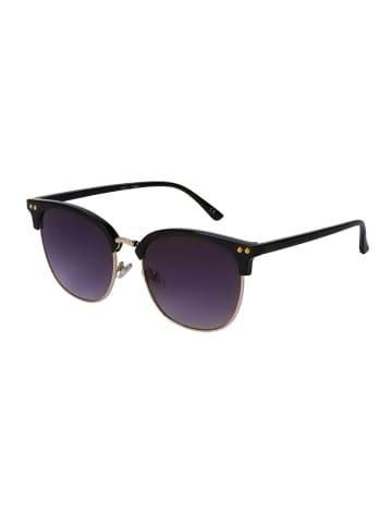 Six Sonnenbrille mit schwarzen Gläsern und zweigeteiltem Rahmen in grau