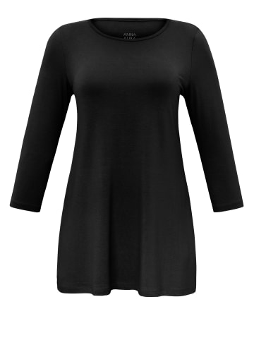 ANNA AURA Rundhalsshirt im lässigen Schnitt in schwarz