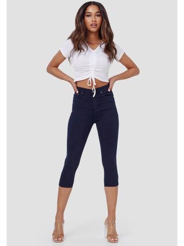 Miss Anna Capri Jeans High Waist Shorts Kurze Skinny Stretch Hosen in Blau