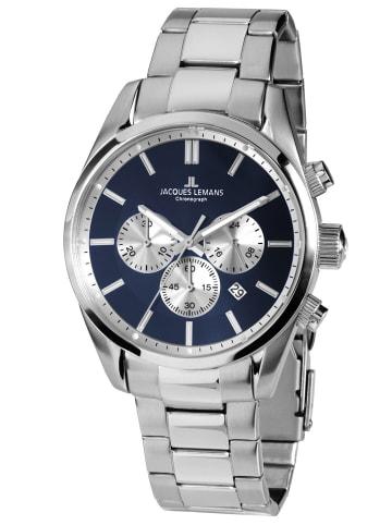 Jacques Lemans Herren-Armbanduhr Chronograph Classic Blau / Silber