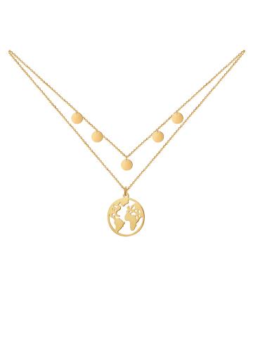 GOOD.designs Edelstahlkette Welt 5 Coin in gold