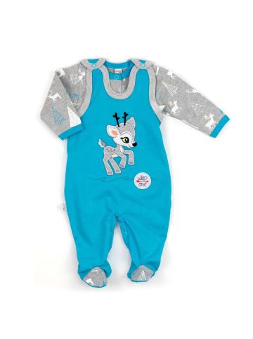 Koala Baby 2tlg Set Strampler + Shirt Rentier - by Koala Baby in blau und grau