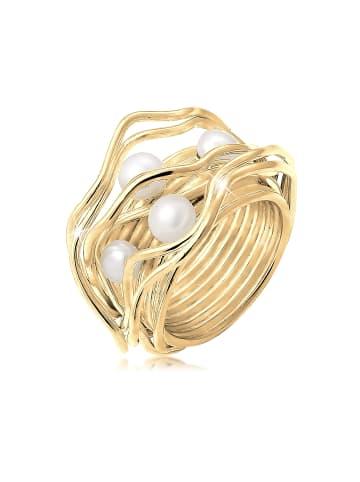 Nenalina Ring 925 Sterling Silber Perle, Perlenring in Gold